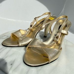 🆕 Sigerson Morrison Belle Gold Heels Italy 6.5
